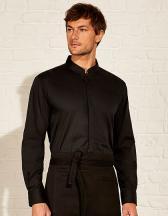 Men`s Tailored Fit Bar Shirt Mandarin Collar Long Sleeve